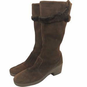 Vintage Snowland Suede Fur Boots 1970's Brown SZ 8
